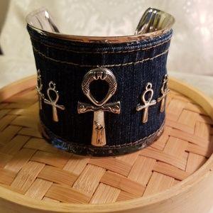 Denim blue jeans cuff Ankhs charms bracelet